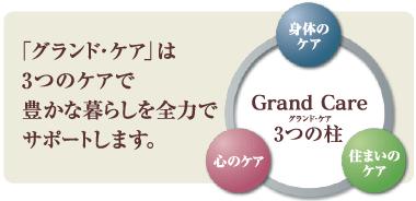 「グランド・ケア」は3つのケアで豊かな暮らしを全力でサポートします。